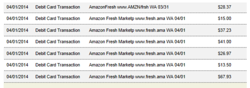 Amazon Fresh bill